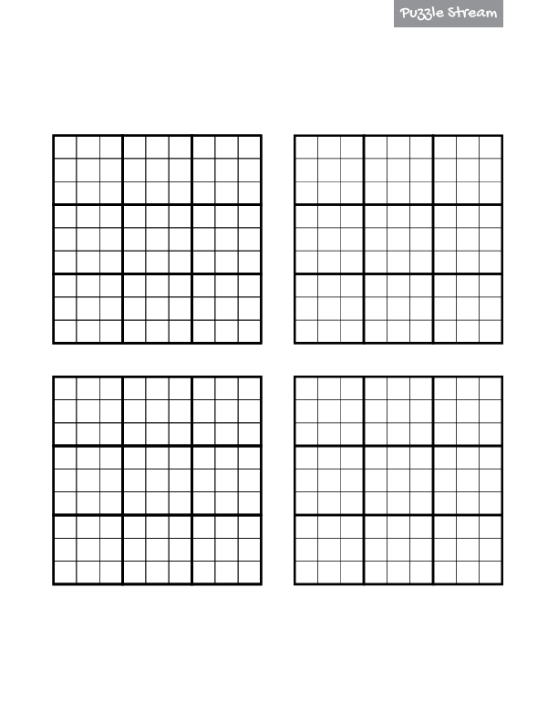 image relating to Printable Sudoku 4 Per Page identify Blank Sudoku Grid for Down load and Printing - Puzzle Movement